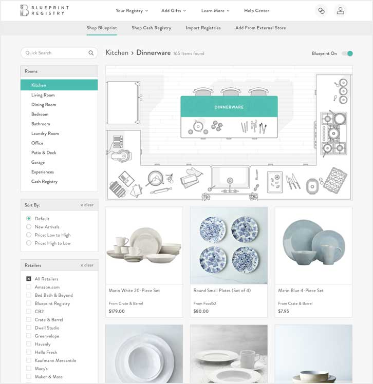 Register by room blueprint registry explore products room by room through visual blueprints allowing you to see what you need want and desire for your new life together traditional registry malvernweather Gallery